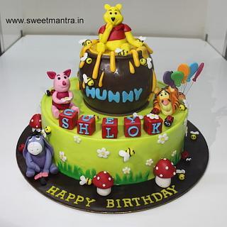 Winnie the pooh animals theme 2 layer fondant cake