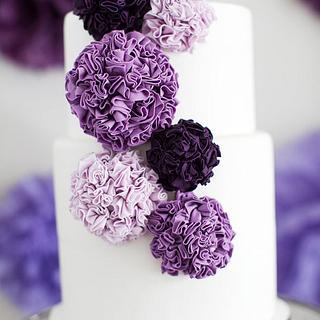 Purple Pom Poms - Cake by Sophie Bifield Cake Company