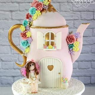 Fairy Tea Party Teapot Cake