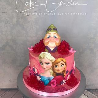 Frozen cake in pink