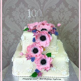 100th Birthday Cake with Sugar Anemones
