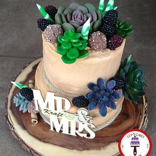 Succulent Rustic Anniversary Cake