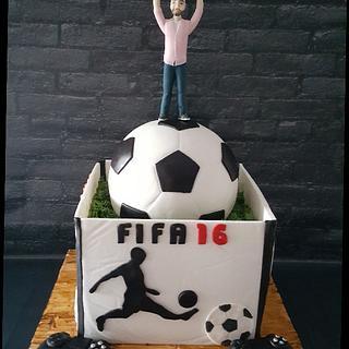 Soccer ball and playstation box cake . - Cake by Simo Bakery