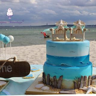 Wedding beach cake