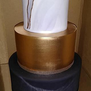 Black, white & gold Cake