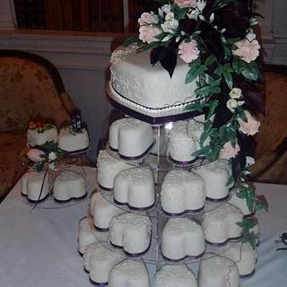 Mini hearts wedding cake  - Cake by Melanie Jane Wright