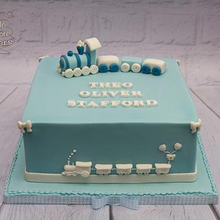 Toy train themed christening cake