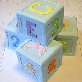 Building Block Christening Cake