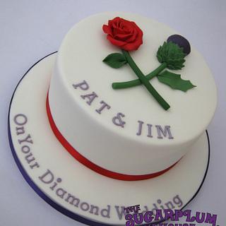 Rose & Thistle Diamond Anniversary Cake