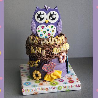 Girly Owl Cake