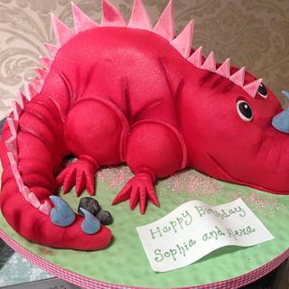Pink sparkly dinosaur cake - Cake by Nina Stokes