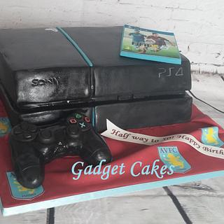 PS4 cake with game and controller for Villa fan! - Cake by Gadget Cakes