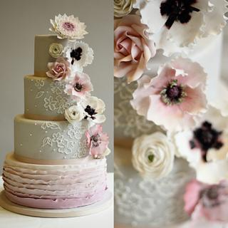 Pink and Grey Floral wedding cake