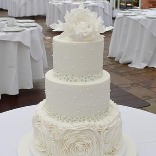 Ruffles and Peony wedding cake - Cake by Strawberry Lane Cake Company
