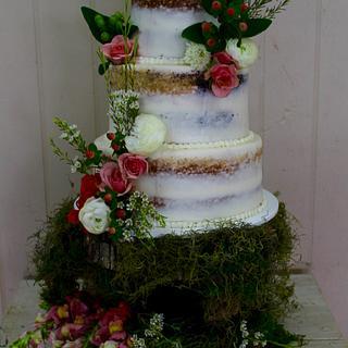 Hardly Naked Wedding Cake