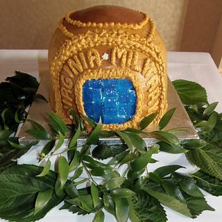 Class ring in Buttercream and isomalt VMI Grooms cake