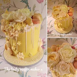 Diamond anniversary ,Lemon Macaron Drip Cake - Cake by Andrea