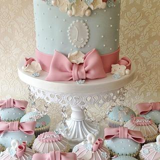 Shabby Chic Celebration Cake and Cupcakes - Cake by Cat Lawlor