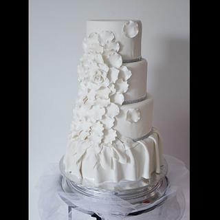 White Rose Petal Wedding Cake