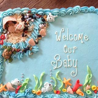 Coral reef baby shower cake