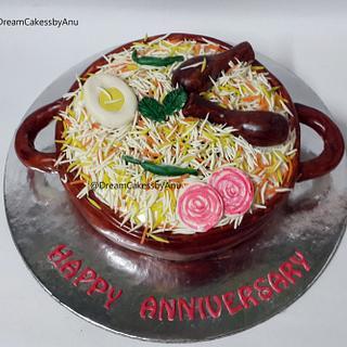 Chicken biryani cake