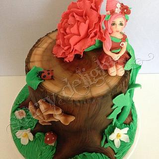 Fairy and Peony on a Tree Stump