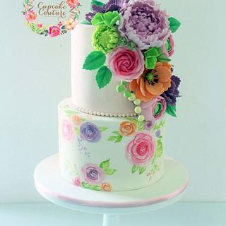 Floral Painted cake and sugarflowers