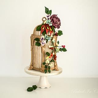 Antique Birdcage with assorted flowers