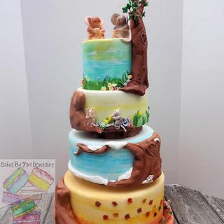 Seasonal out door wedding cake