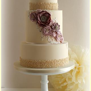 Silk Fabric Effect Flowers, Lace & Pearl Wedding Cake