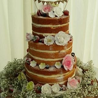 A Rustic Naked Wedding Cake