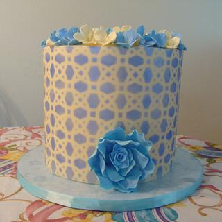 Easter Cake, stenciled modeling chocolate
