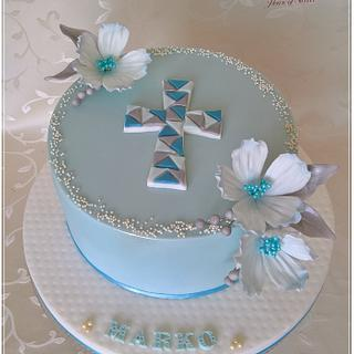 White & blue holly communion