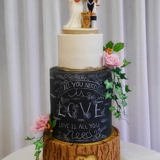 Chalkboard wedding cake  - Cake by Daisychain's Cakes