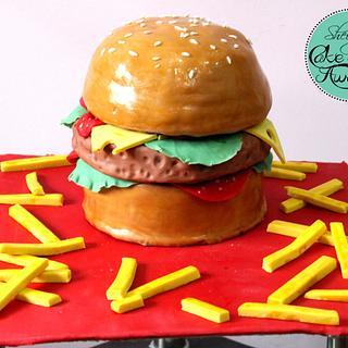 Yum burger cake  - Cake by sheingscakemeaway