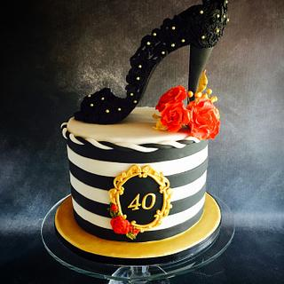 Black Lace Shoe Cake - Cake by Una's Cake Studio