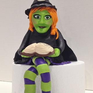 Fondant witch cake topper
