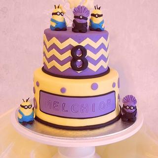 Yellow and Purple Minion Cake