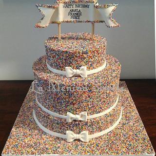 Rainbow Non-pareils Cake - Cake by Cristi
