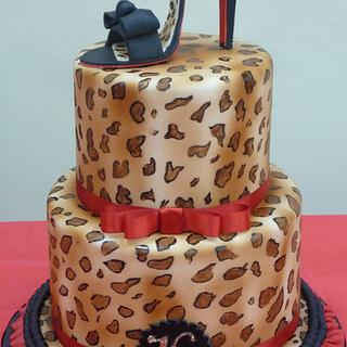 Animal Print cake with high heel