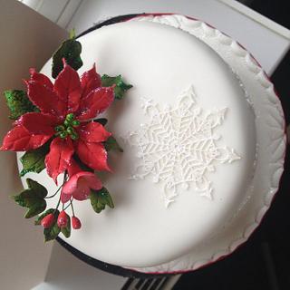 Pretty white Christmas cake