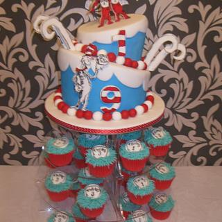 cat in the hat topsy turvy cake