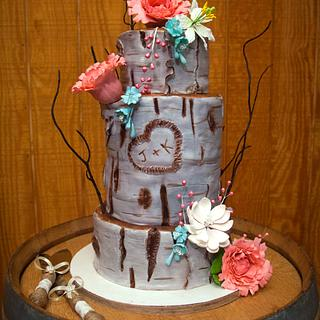 Birch Tree Boho Wedding Cake