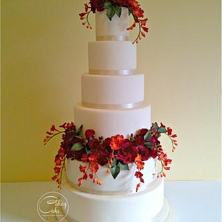 Rose & Freesia Wedding Cake