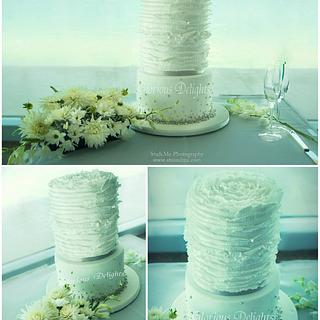 Bubbles and Ruffles Wedding Cake