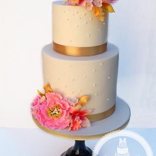 Simple Open Peony Cake