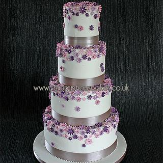 Shades of Purple Daisy Wedding Cake