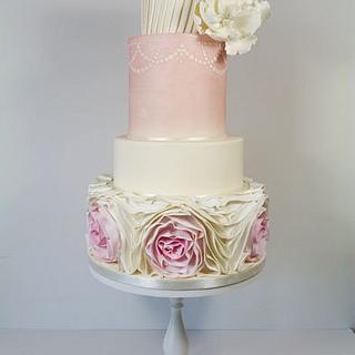 Pretty in pink- omber ruffle wedding cake - Cake by Little Miss Fairy Cake