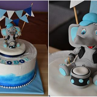 Little rocker elephant cake