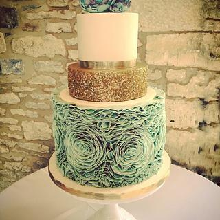 Mint Rose Ruffle and Sequin Cake with Succulents